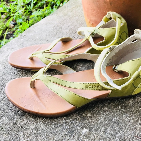 ShoesLotta Merrell Poshmark Leather Sandals 8 Green Strappy Lq34jc5RA